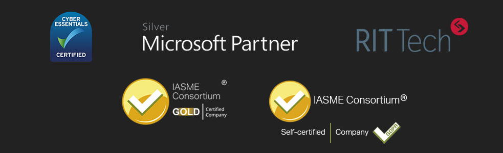 iTeam Bristol - Microsoft Partner, RITTech, Cyber Essentials Certified and IASME Gold Certified Logos