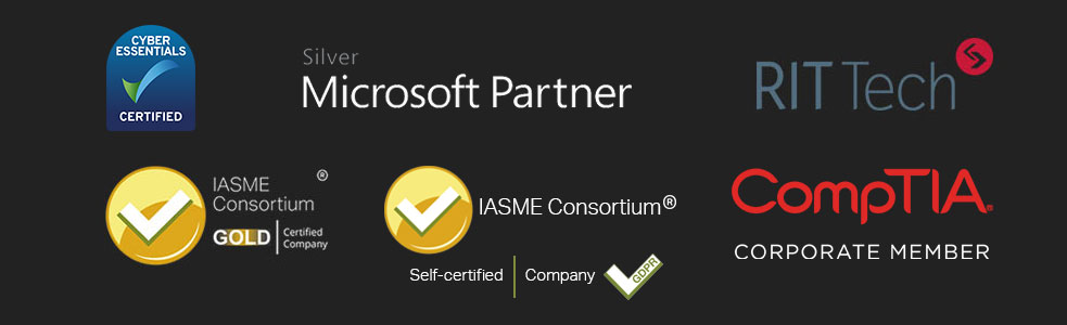 iTeam Bristol - Microsoft Partner, RITTech, Cyber Essentials Certified, IASME Gold Certified and Comptia Logos